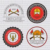 Firefighter label template of emblem elements set