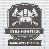 Firefighter logo or label template background on white brick wall