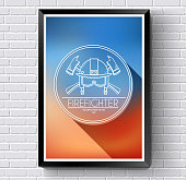 Firefighter logo or label template with  background on  brick wall