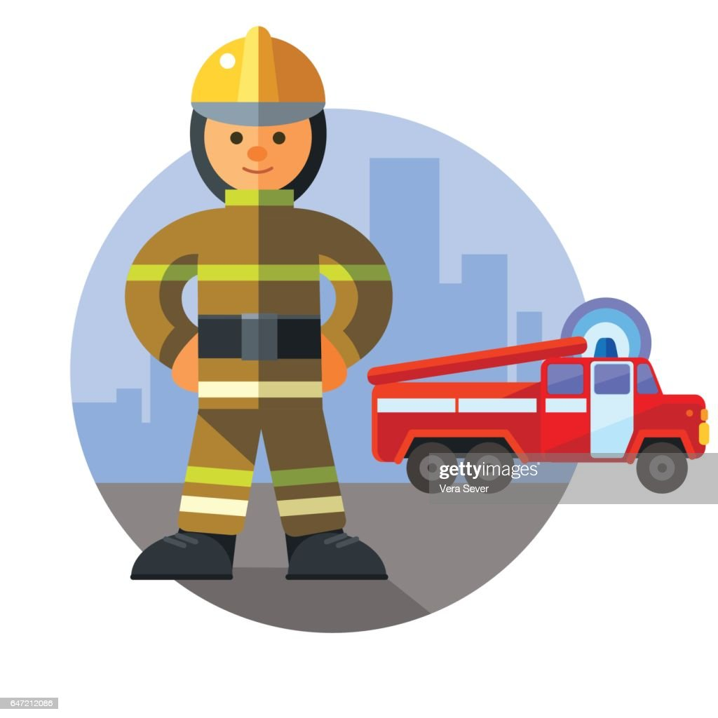 Firefighter next to fire engine on background of the city
