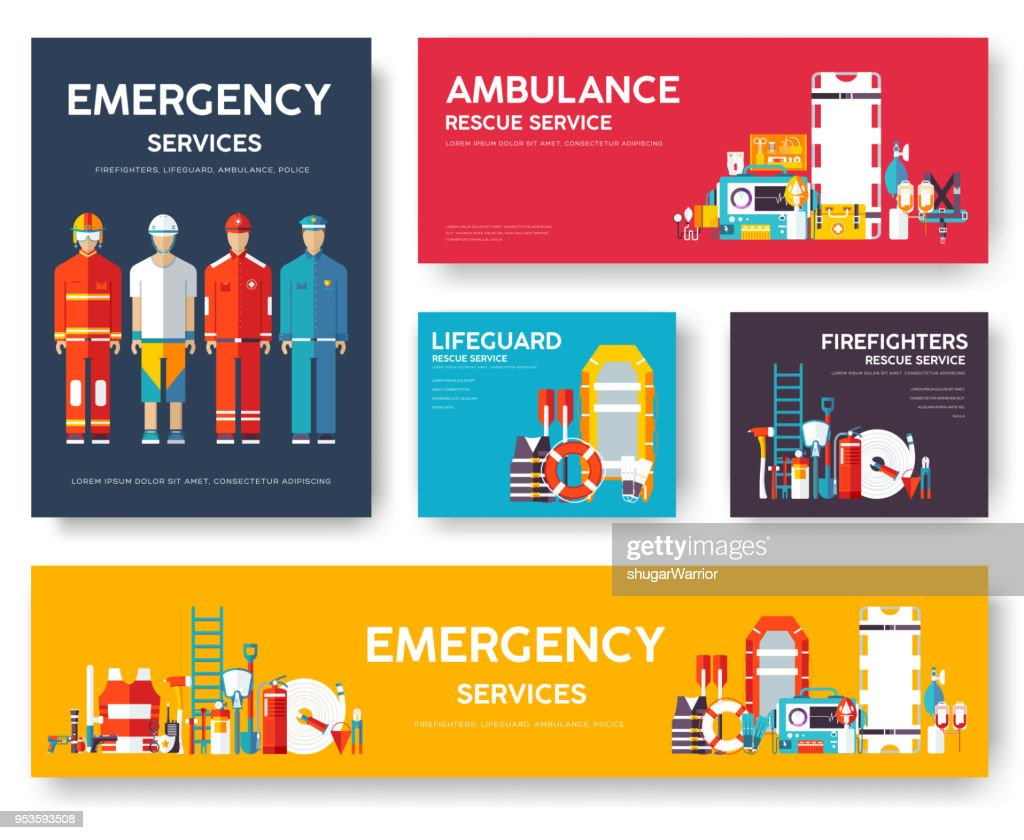 Firefighter, rafting, police, medicine rescue cards template set. Flat design icon of flyer, magazines, posters, book cover, banner. Emergency services layout concept pages with typography background
