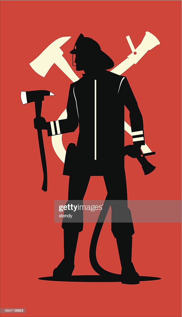Firefighter silhuette, holding an axe and sprinkler