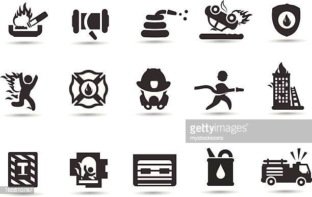 firefighter symbols - fire engine stock illustrations, clip art, cartoons, & icons