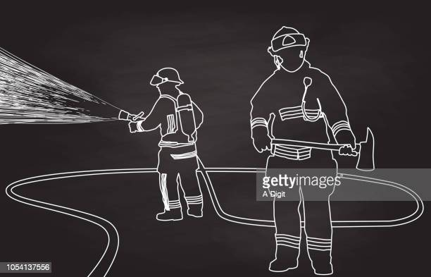 firefighter training hose and axe - firefighter stock illustrations