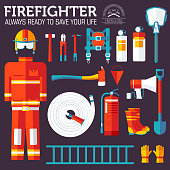 firefighter uniform and first help equipment and instruments