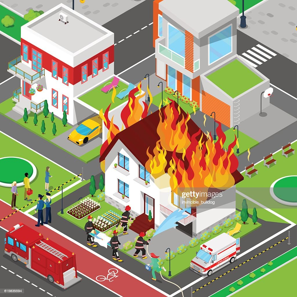 Firefighters Extinguish a Fire in House Isometric City