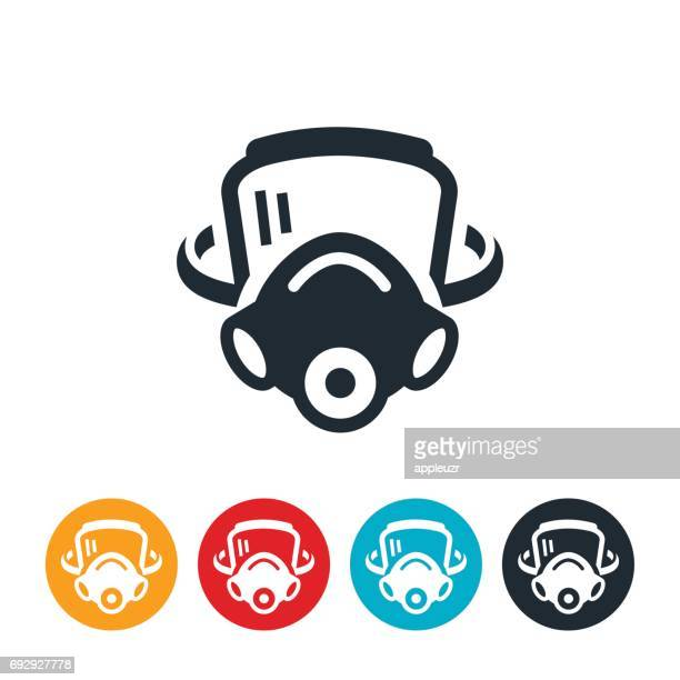 firefighters mask icon - respirator mask stock illustrations