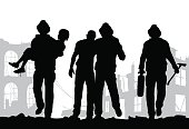 Firefighters silhouette