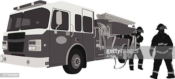 firefighters - fire engine stock illustrations, clip art, cartoons, & icons