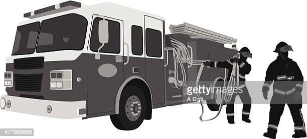 ilustrações de stock, clip art, desenhos animados e ícones de firefighters - corpo de bombeiros