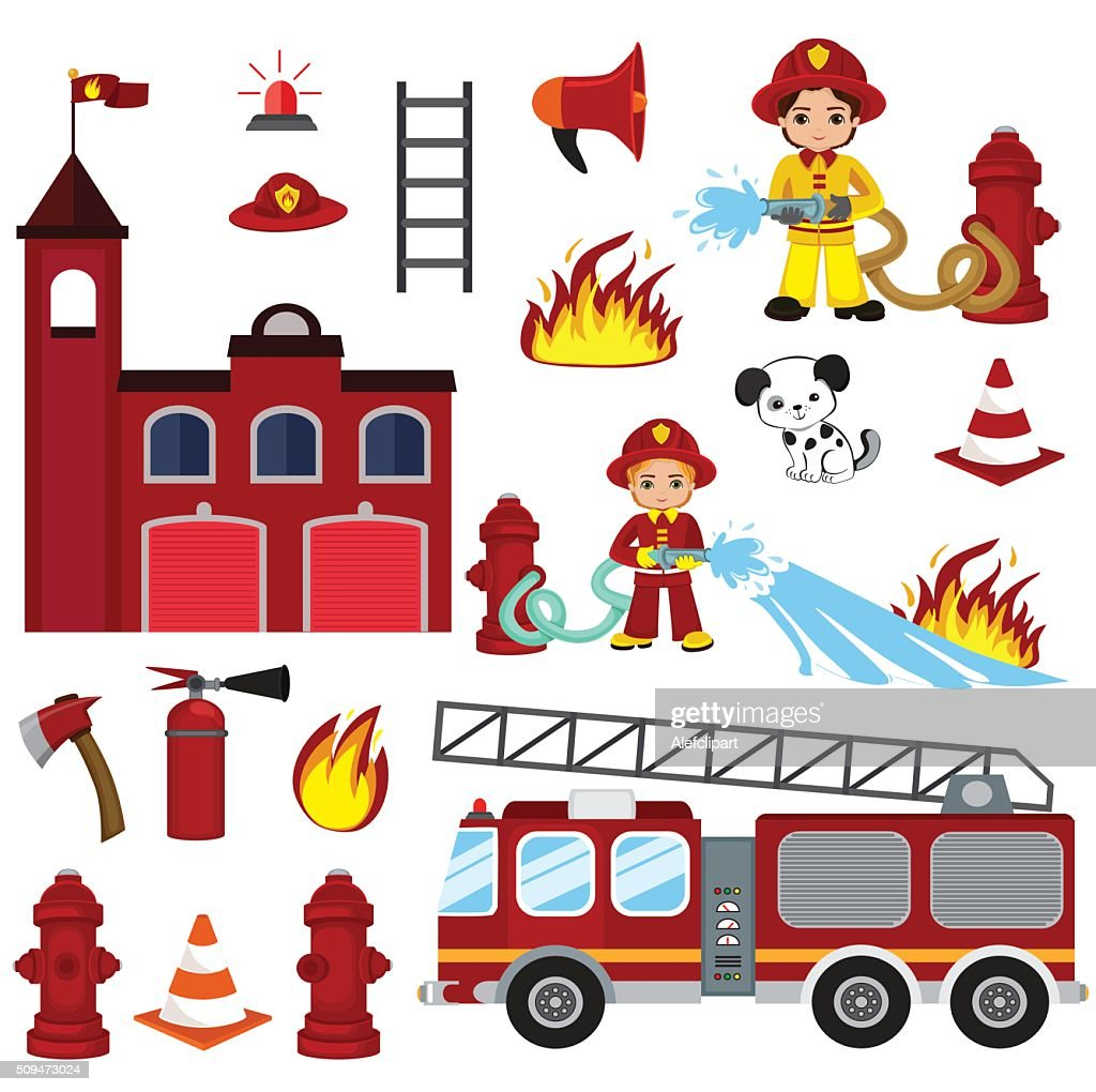 firefighting characters, hose, fire station, fire engine, fire alarm, extinguisher.