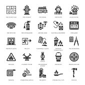 Firefighting, fire safety equipment flat glyph icons. Firefighter car, extinguisher, smoke detector, house, danger signs, firehose. Flame protection pictogram. Solid silhouette pixel perfect 64x64