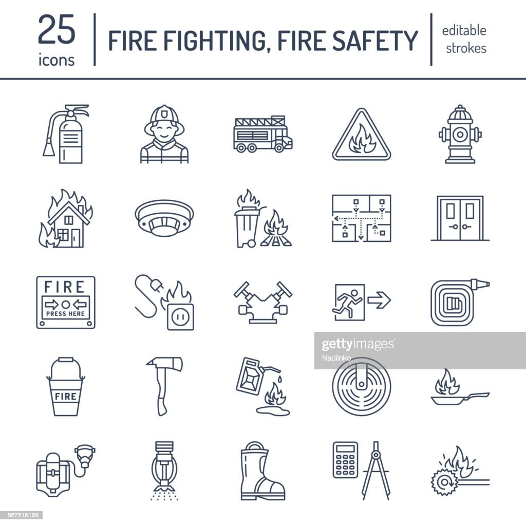 Firefighting, fire safety equipment flat line icons. Firefighter, fire engine extinguisher, smoke detector, house, danger signs, firehose. Flame protection thin linear pictogram