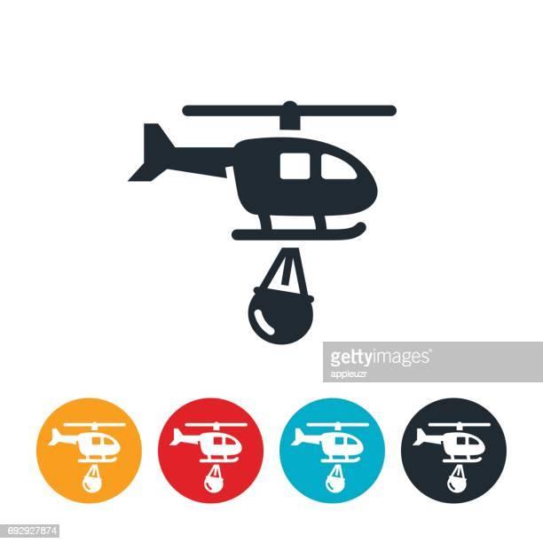 ilustraciones, imágenes clip art, dibujos animados e iconos de stock de icono de helicóptero de extinción de incendios - incendio forestal