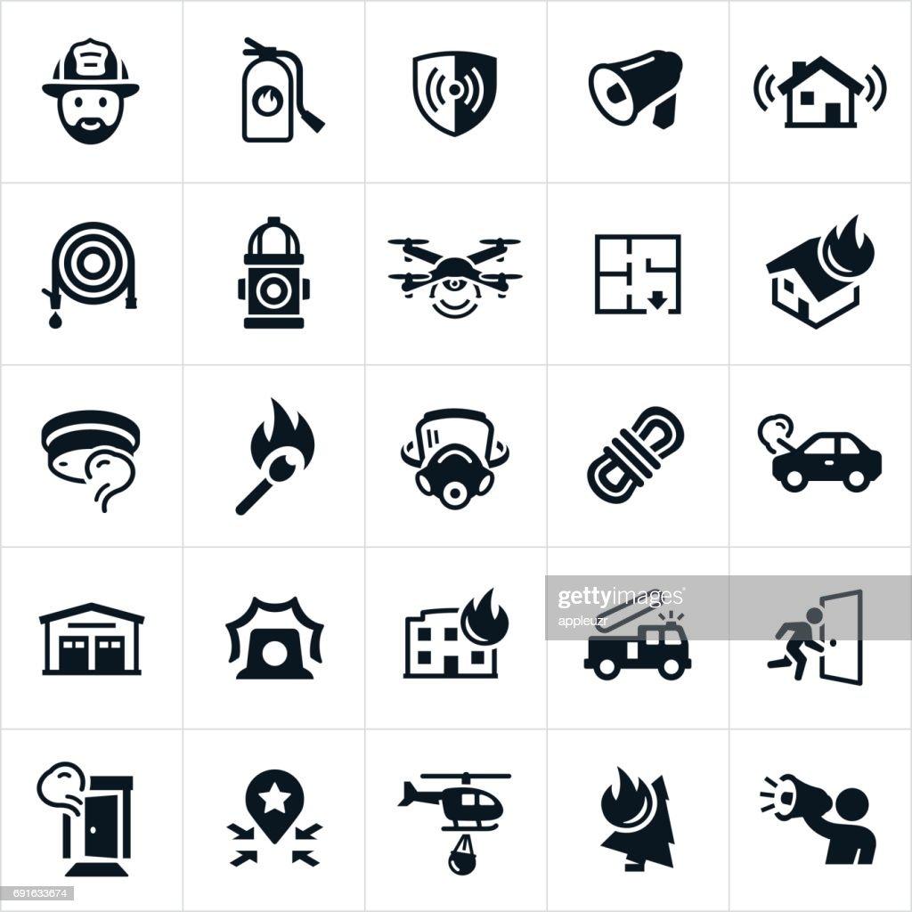Firefighting Icons : stock illustration