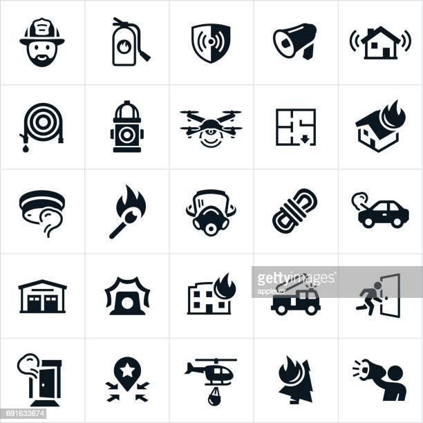 firefighting icons - fire natural phenomenon stock illustrations, clip art, cartoons, & icons