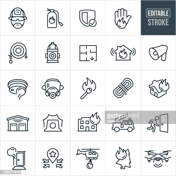 firefighting line icons - editable stroke - fire natural phenomenon stock illustrations, clip art, cartoons, & icons