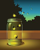 fireflies escaping from a glass jar into the night