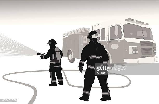 ilustrações de stock, clip art, desenhos animados e ícones de firehose - corpo de bombeiros