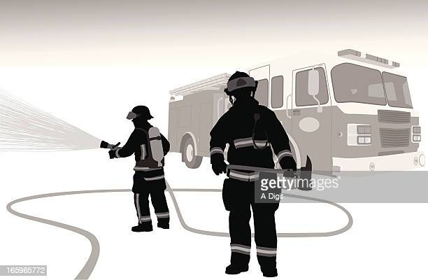 firehose vector silhouette - fire engine stock illustrations, clip art, cartoons, & icons