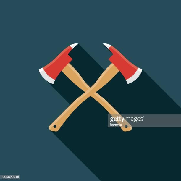 ilustrações de stock, clip art, desenhos animados e ícones de fireman axes flat design emergency services icon - corpo de bombeiros