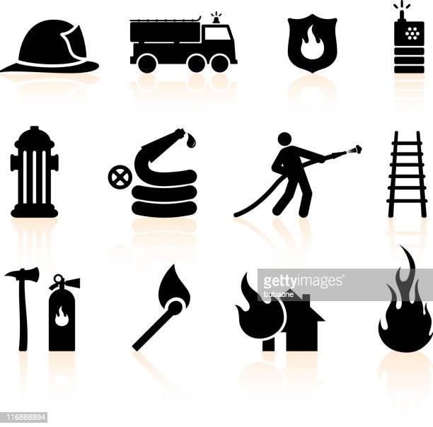 ilustrações de stock, clip art, desenhos animados e ícones de fireman preto e branco vector conjunto de ícones royalty free - corpo de bombeiros