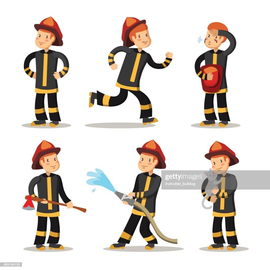 Fireman Cartoon Character Set. Firefighter