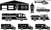 Fireman concept. Detailed illustration of firefighter, fire station building, firetruck and helicopter in flat style on white background. Vector illustration.