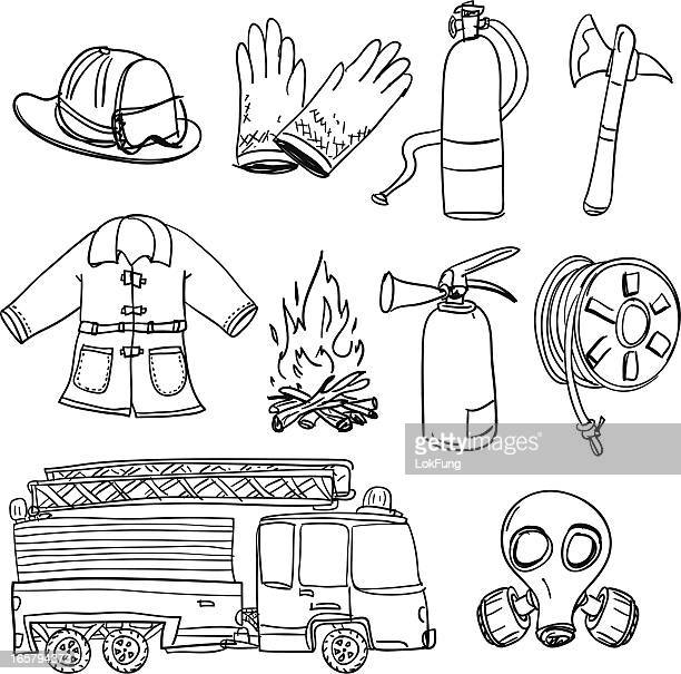 ilustrações de stock, clip art, desenhos animados e ícones de fireman equipamento em preto e branco - corpo de bombeiros