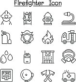 Fireman, Fire Fighter, Fire Station icon set in thin line