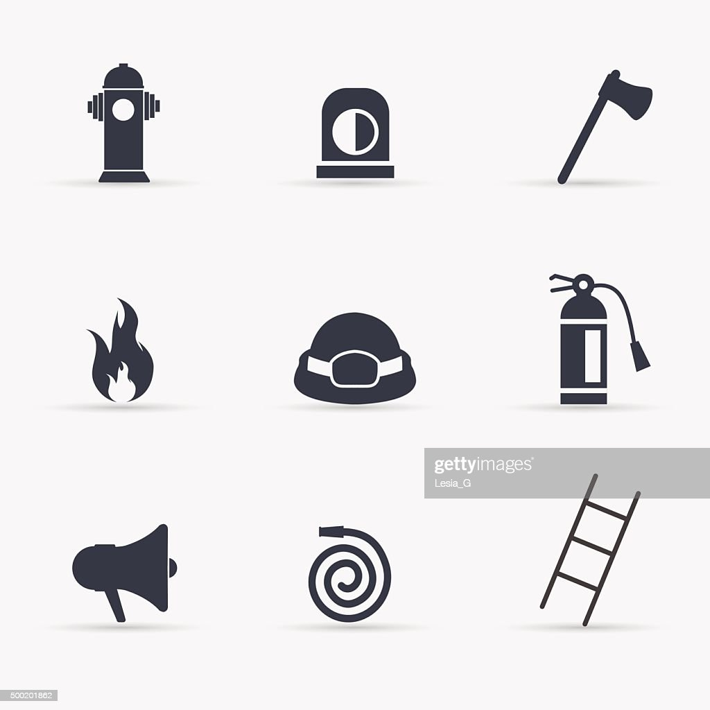 Fireman icons set. Vector illustration.