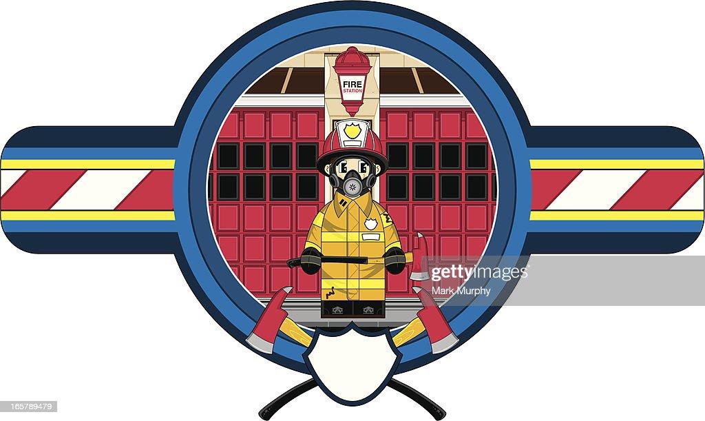 fireman in respirator badge vector art getty images