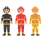 Fireman in uniform character set vector flat figures of rescue firefighter in safe helmet and uniform.The professional rescuer employees of the emergency service.