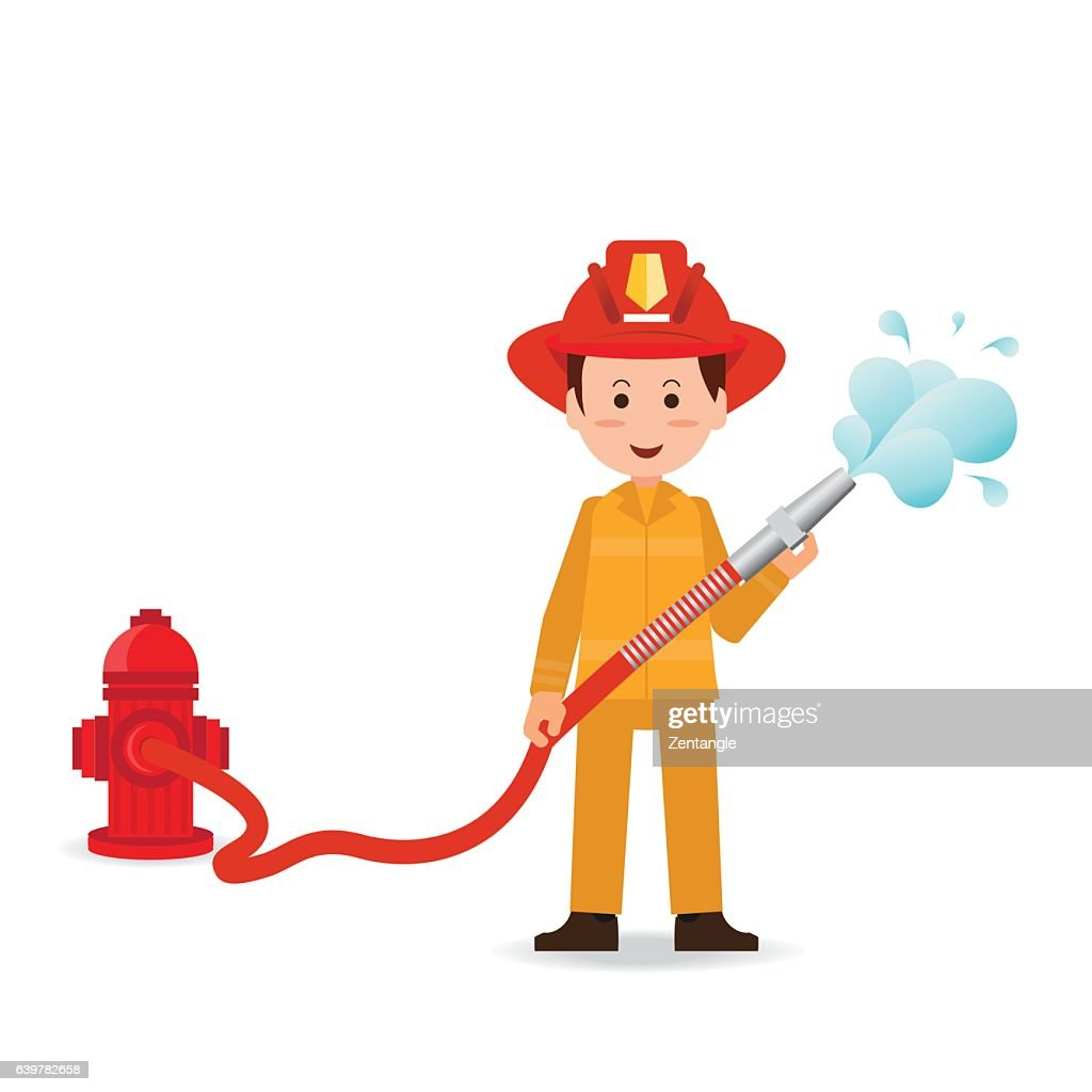 Fireman spraying a water hose isolated on white background.