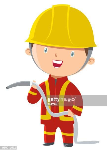 ilustrações de stock, clip art, desenhos animados e ícones de fireman - corpo de bombeiros