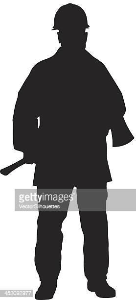 ilustrações de stock, clip art, desenhos animados e ícones de fireman com machado silhueta - corpo de bombeiros