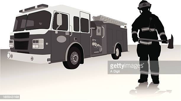 fireman'n axe vector silhouette - fire engine stock illustrations, clip art, cartoons, & icons