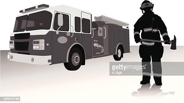 ilustrações de stock, clip art, desenhos animados e ícones de fireman'naxe - corpo de bombeiros