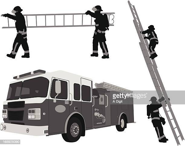 fireman'n ladders vector silhouette - fire engine stock illustrations, clip art, cartoons, & icons