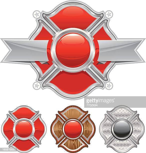 ilustrações de stock, clip art, desenhos animados e ícones de bombeiro cruz - corpo de bombeiros