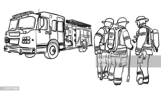 ilustrações de stock, clip art, desenhos animados e ícones de firemen teamwork - carro de bombeiro