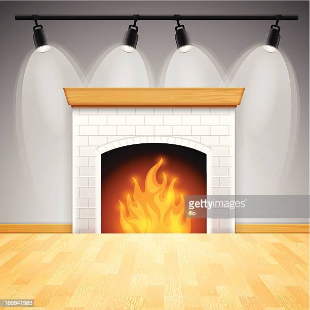 fireplace - hardwood floor stock illustrations, clip art, cartoons, & icons