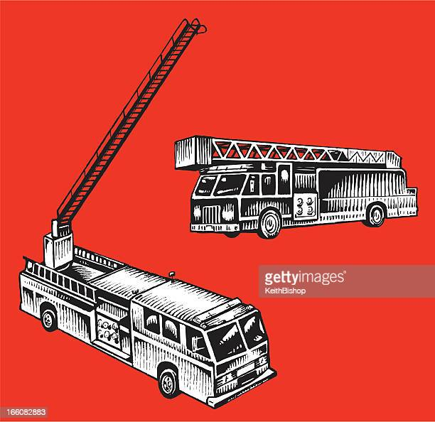 firetruck - emergency service vehicle - fire engine stock illustrations, clip art, cartoons, & icons