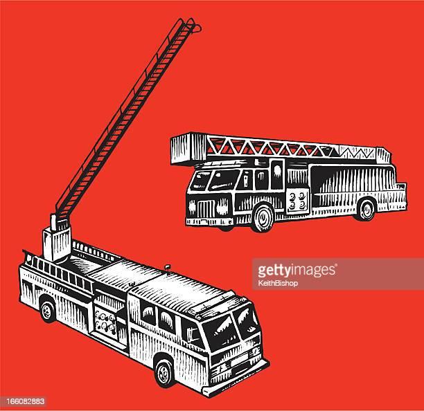 ilustrações de stock, clip art, desenhos animados e ícones de firetruck-veículo de serviço de emergência - carro de bombeiro