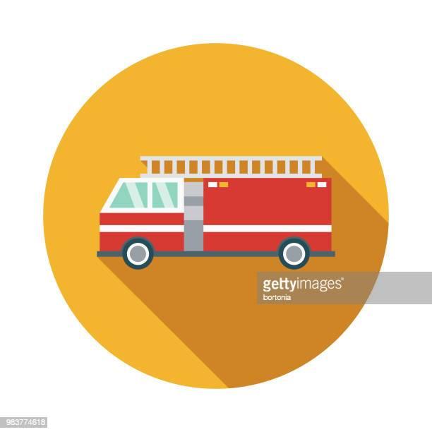 firetruck flat design transportation icon - fire engine stock illustrations, clip art, cartoons, & icons