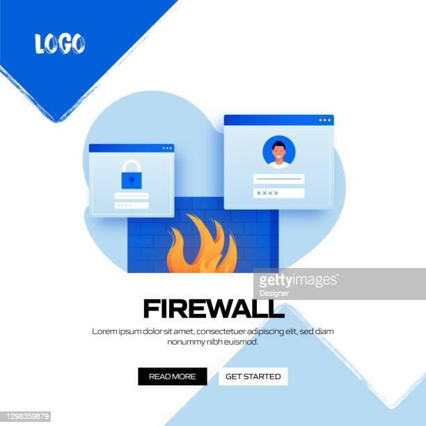 firewall concept vector illustration for website banner, advertisement and marketing material, online advertising, business presentation etc. - verification stock illustrations