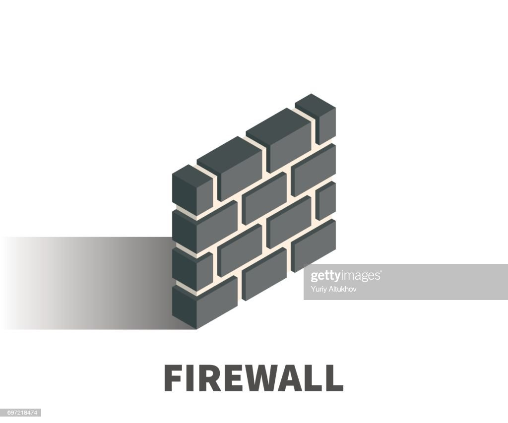 Firewall icon, vector symbol in isometric 3D style isolated on white background.