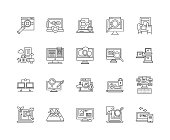 Firewall line icons, signs, vector set, outline illustration concept