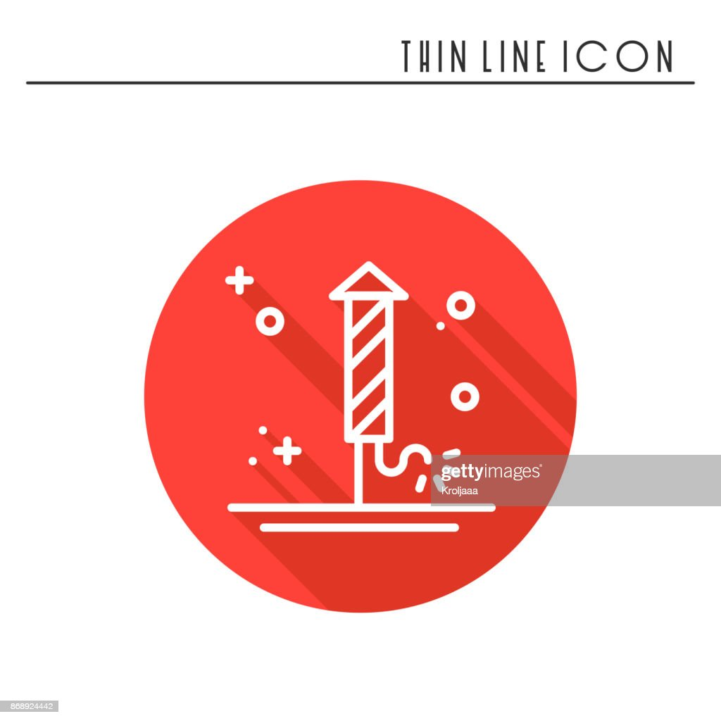Firework banger firecracker salute icon. Christmas New Year celebration decorated pictogram. Xmas winter thin line element icon. Vector simple linear design. Logo illustration. Symbol