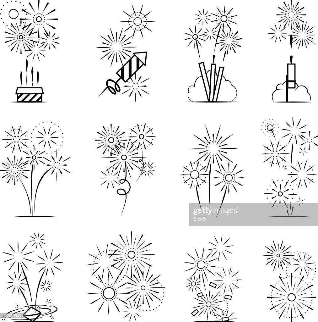 Firework celebration icon set